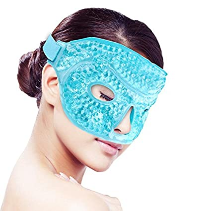 Cooling Ice Gel Face Mask for Sleeping, Hot/Cold Reusable Gel Beads ice Pack with Soft Plush Backing,Hot Cold Therapy for Facial Pain,sleeping,Swelling,Migraines, Headaches,Stress Relief [Blue] YunQiXin