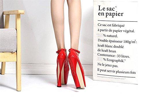 Cinturino Doppio Mary Caviglia Tallone Lylife Classe Pompe Mandorla Donne Rosso Jane Toe Nuovo xBwWSqWA0p