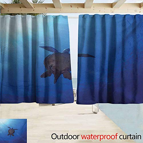 DocGike Ocean Pergola Curtain Sea Turtle Swims to The Surface of Deep Sea with The Sun Rays Nature Picture Art Perfect for Your Patio, Porch, Gazebo, or Pergola W55 xL72 Aqua Navy Brown