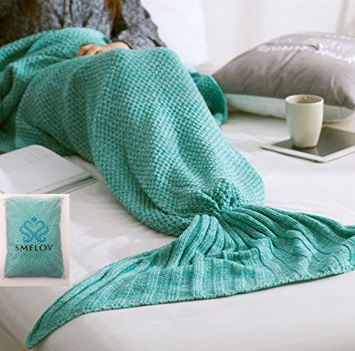 "SMELOV Mermaid Tail Blanket and Super Soft Handmade Crochet Summer Quilt Sleeping Bags,Best Birthday Gift for Adult Kids,71"" X 35.5"",Green"