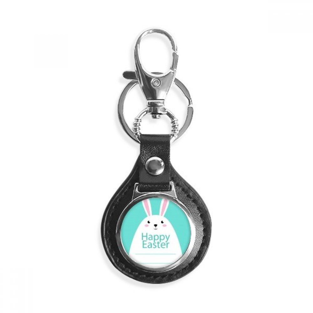 Happy Easter Festival Blue Bunny Pattern Leather Metal Key Chain Ring Car Keychain Gift