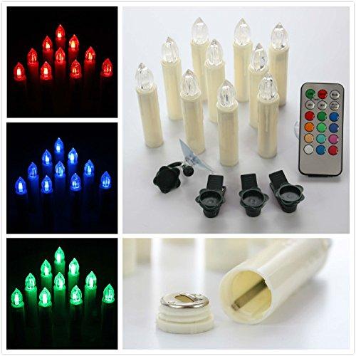 xabl Conjunto de 10LED de batería Taper velas sin llama con control remoto y clips para decoración Home y la Navidad día...