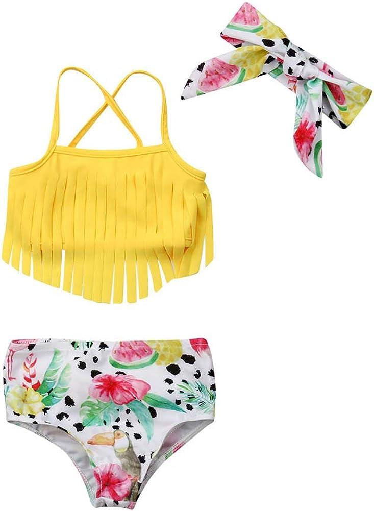 Toddler Kids Baby Girl Swimwear Cute Dinosaur Print Tassel Top Bikini Set Summer Swimsuit Beachwear with Headband (Yellow, 0-6 Months)