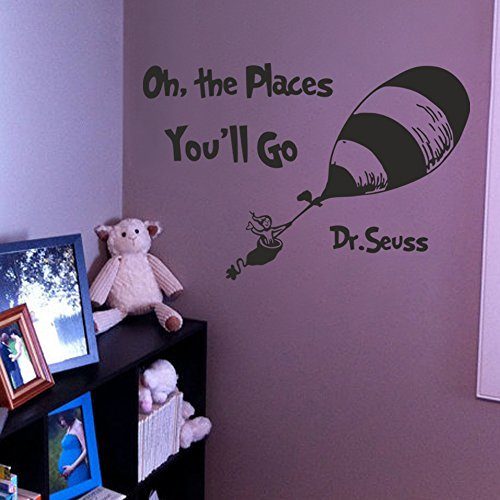 Wall Decal Decor Dr Seuss Nursery Wall Decal Quote - Oh The Places You'll Go - Vinyl Stickers Crib Bedding Wall Art Mural Bedroom Dorm (White, 39