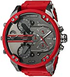 Diesel Men's Mega Chief Quartz Stainless Steel and Silicone Chronograph Watch - Color: Red - Brown (Model: DZ4476)