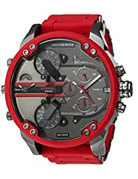 Diesel Men's Mega Chief Quartz Stainless Steel and Silicone Chronograph Watch, Color: Red, Brown (Model: DZ4476)