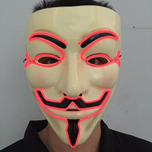 Wireless masquerades masks / guy fawkes mask / halloween mask / light up mask / fawkes mask / Dj mask / wireless mask with on and flash red by one size filled most (Guy Halloween Costume Ideas)