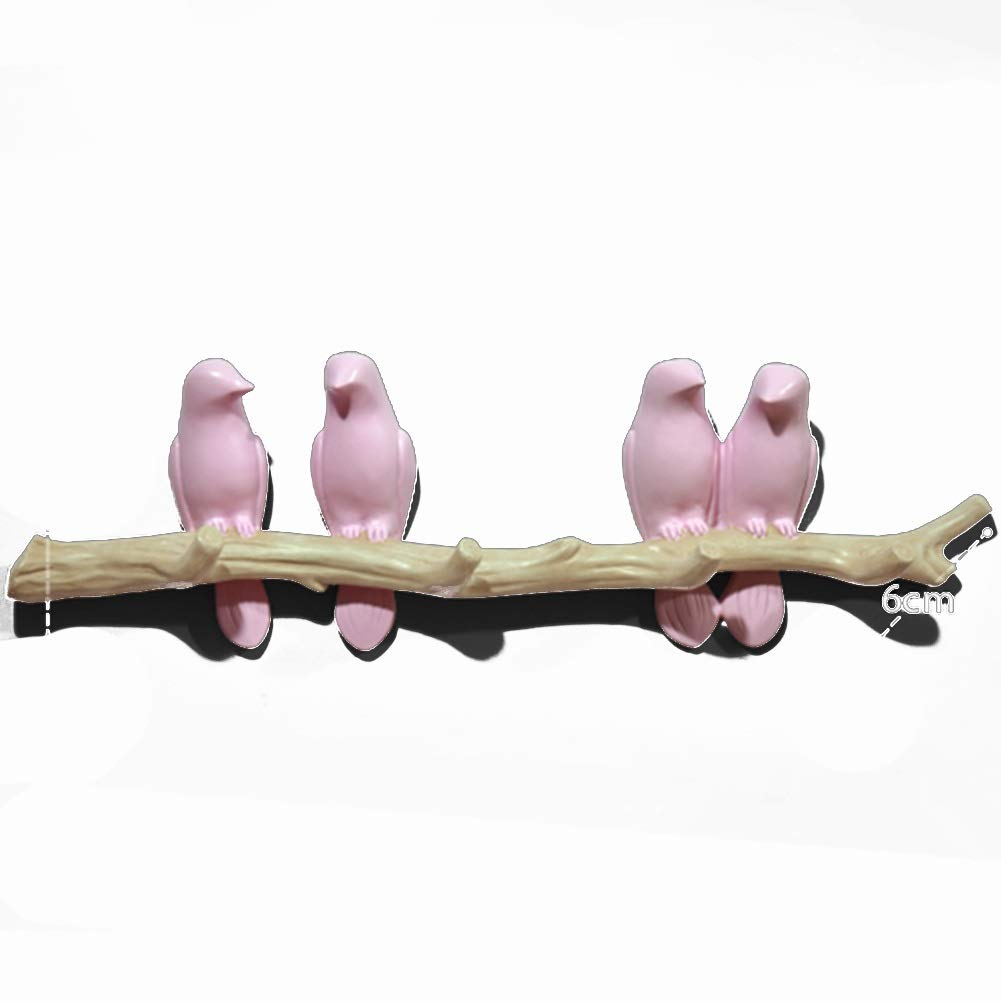 Pink 4 Tingting-Wall Mounted Coat Rack Resin Bedroom Living Room Kitchen Hall After The Door Pastoral Little Bird Decoration (color   White, Size   3)