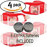 Bright Eyes Silicone Bike Tail Light Rear Safety LED Lights (Red, Set of 4)