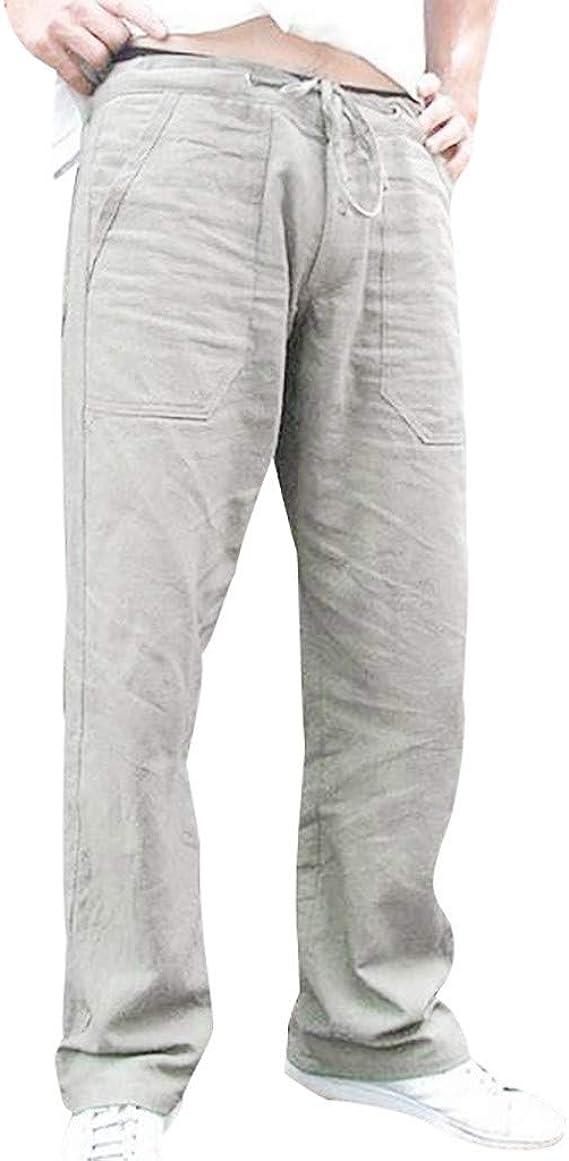 Alaso - Pantalón de chándal para Hombre, Corte Recto, Lino y ...