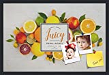 PinPix decorative pin cork bulletin board made from canvas, Recipe Board with Fruit 30x20 Inches (Completed Size) and framed in Satin Black (PinPix-Group-36)