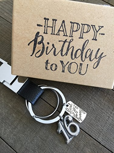 16th Birthday Black Genuine Leather Masculine Key Chain with Gift Packaging for Boy or Girl