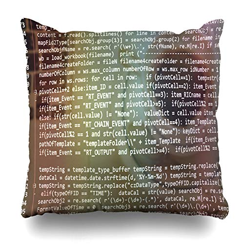 Ahawoso Throw Pillow Cover Square 16x16 Host Application Software Developer Programming Code Data Abstract Big Binary Browser Byte Design Monitor Zippered Cushion Case Home Decor Pillowcase (Best Programming Language For Database Applications)