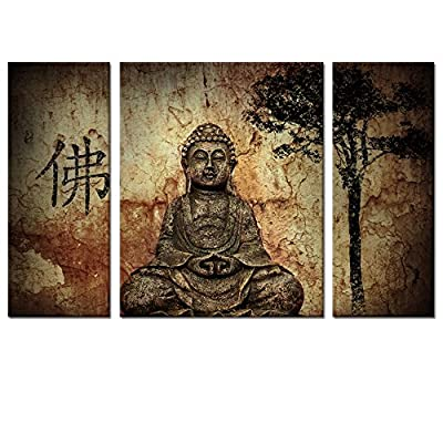 "Visual Art, Buddhist Love, total 20""x32"" Multi panels Buddha Canvas Wall Art Prints Medium Size Framed and Ready Wall Hang, Buddha Canvas Prints, Home Decor Paintings - Buddha Canvas Wall Art,Giclee artwork,Eco-ink resolution, printed on water-proof canvas.A great gift idea for your relatives and friends. Stretched and Framed, Ready to Hang.Gallery wrapped on 0.95"" wood bars,WHY NEED TO CHOOSE THICK FRAME?More Strong Threedimensional Appeal,More Stable,and Better Quality. Size:8""x20""x2pcs+16""x20""x1pc (20x50cmx2pcs+40x50cmx1pc),Great pieces to liven up and energize any wall or room. - wall-art, living-room-decor, living-room - 510Ybyp4w5L. SS400  -"