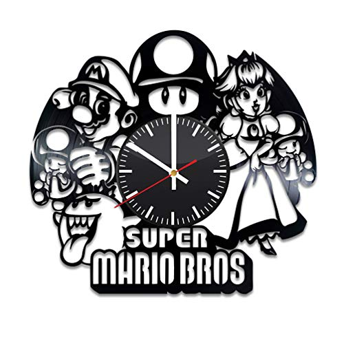 Super Mario Vinyl Clock - Super Mario Bros Video Game Vinyl Records Wall Art Room Decor Handmade Decoration Party Supplies Theme - Best Original Present Gift Idea - Vintage and Modern Style]()