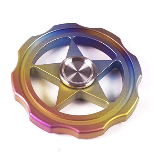 FREELOVE Rainbow Whirlwind Fidget Spinner,Titanium Alloy,Stainless Steel Finger Cover with British Tungsten Steel Beads R188 Bearing,No Edges/Corners,Precise EDC Stress Reduce Toy (Hollow Rainbow) by FREELOVE (Image #1)