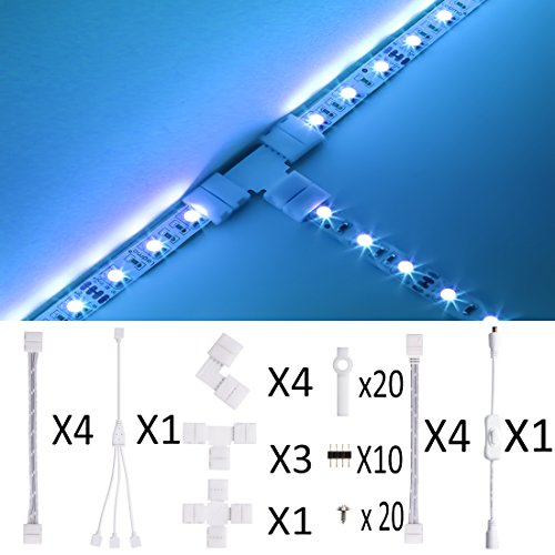 RGB LED Strip Light Connector,Munting Bracket Kit, Strip Light Gapless Connector,DC On/off Switch included for 4-Pin 10mm SMD5050 RGB Strip Connector