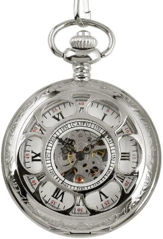 ESS メカニカル ポケットウォッチ 懐中時計 シルバーケース ステンレス スチール ウインドアップ クラシック スケルトン