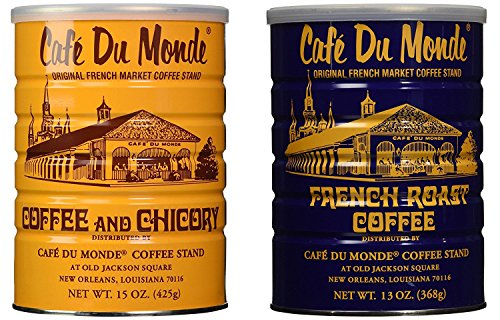 Cafe Du Monde Coffee and Chickory and French Roast Bundle. New Orleans Coffee Bundle Includes One 15 ounce Original Coffee And One 13 Ounce French -