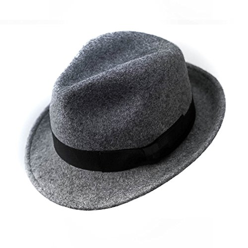Wool Trilby Hat Man's Felt Fedora Hat Panama Classic Manhattan Structured Black Band (M,Gray)