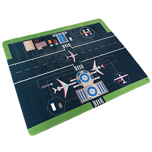 Baby Play Mat for Kids, Microfiber Flannel Fleece & Foam Mat with Non Slip Back and Airport Scene for Toddlers, Boys and Girls by Hey! Play! ()