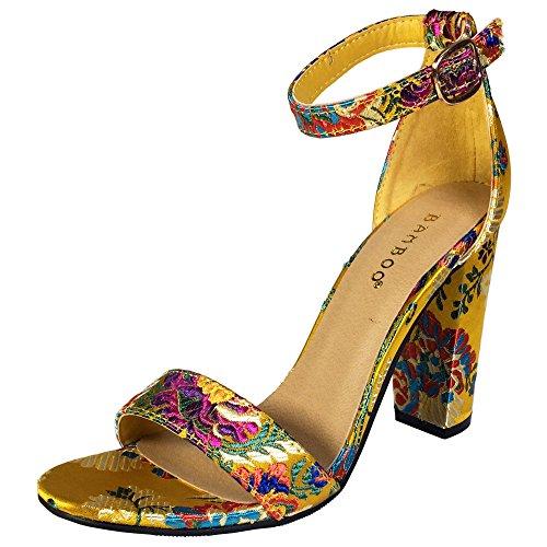 Sandalo Con Tacco Grosso In Bambù Da Donna Con Cinturino Alla Caviglia Broccato Floreale Giallo