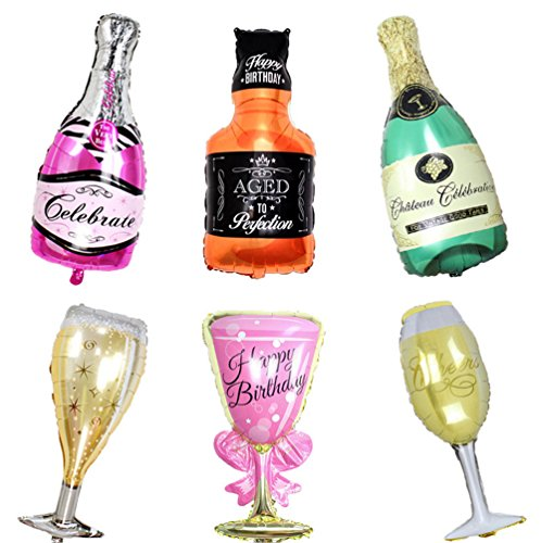 6 Pack Happy Birthday Party Large Foil Balloons - Champagne and whiskey Bottles with Goblet glasses 33in. tall by Par-T -