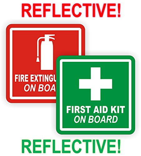 REFLECTIVE 3inch Fire Extinguisher | First Aid Kit on Board Vinyl Decals | Jeep Stickers | 4x4 Labels Pair