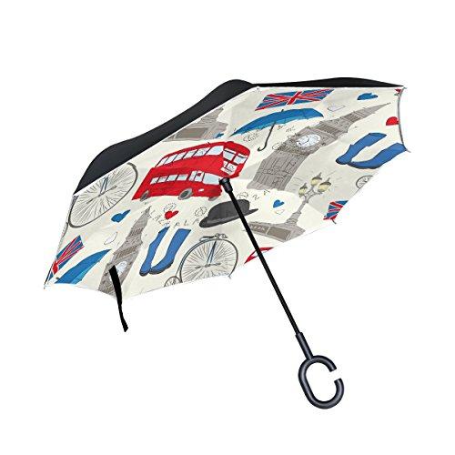 (ALAZA London Big Ben Union Jack Heart Inverted Umbrella, Large Double Layer Outdoor Rain Sun Car Reversible Umbrella)