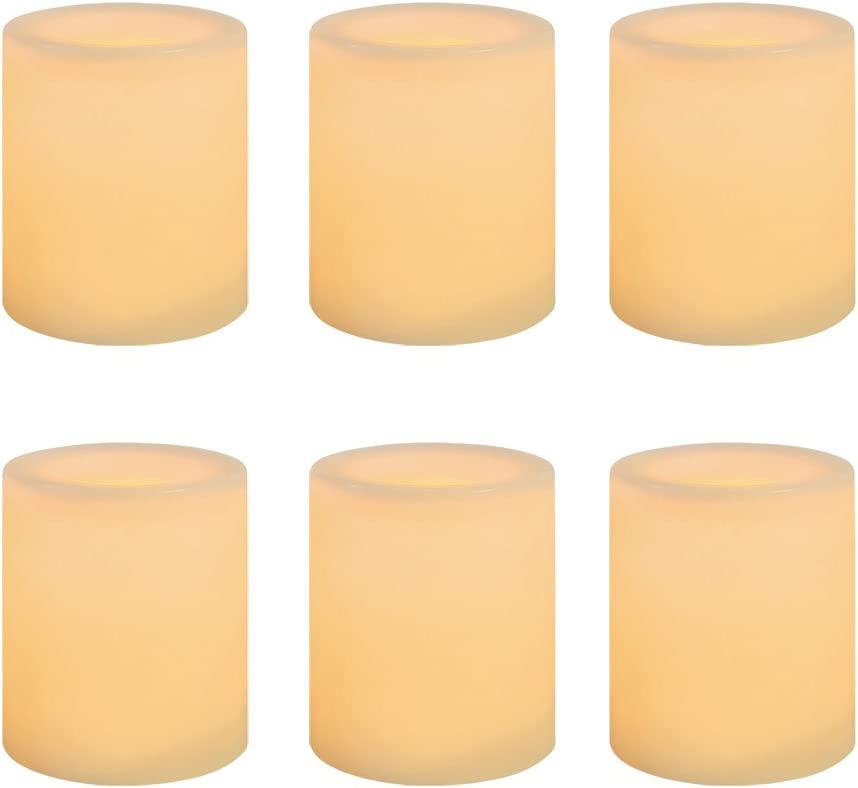 Sterno Home, Cream Inglow Battery-Operated 1-3/4-Inch Flameless Wax-Covered LED Votive Candle, 6-Pack