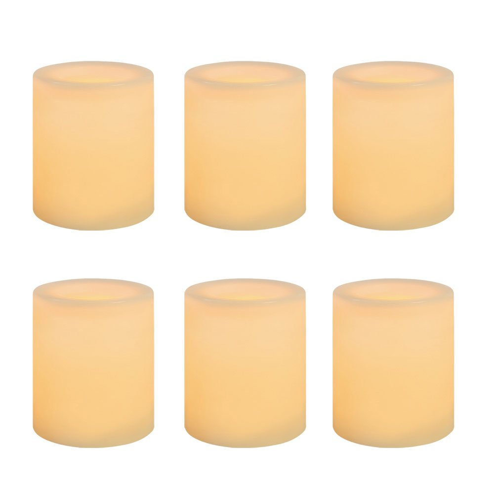 Inglow by Sterno Home Battery-Operated 1-3/4-Inch Flameless Wax-Covered LED Votive Candle, 6-Pack, Cream