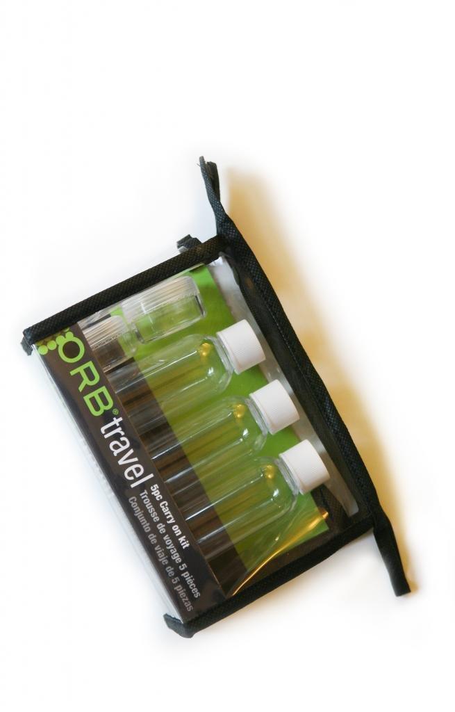 ORB Travel 5 pcs Kit (3 PCS 50ML Bottles, 2 PCS 10ML Jar), PVC Pouch, Smart Travel Bottle Set TK350