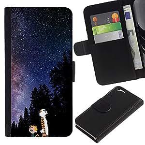 YiPhone /// Tirón de la caja Cartera de cuero con ranuras para tarjetas - Catoon Gato Vía Láctea - Apple Iphone 6