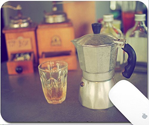 Luxlady Gaming Mousepad 9.25in X 7.25in IMAGE: 34010862 coffee maker espresso machine on the table wood vintage color