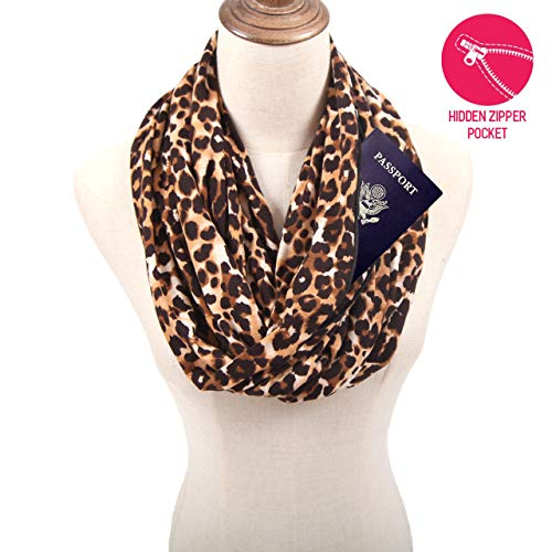 (MissShorthair Women Leopard Print Infinity Scarf with Zipper Pocket, Travel Loop Scarf Wrap)