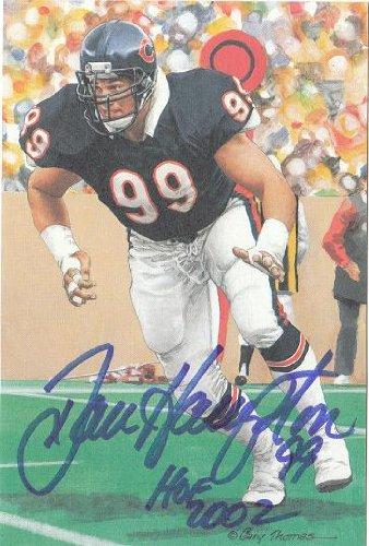 Autographed Dan Hampton Chicago Bears Goal Line Art Card with COA