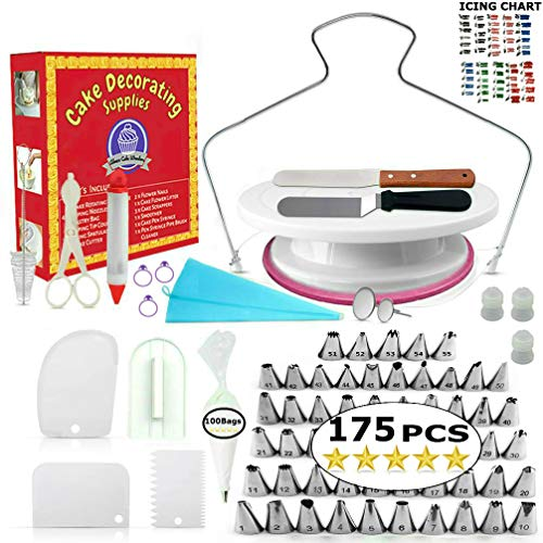 Cake Decorating Supplies - (100 PCS SPECIAL CAKE DECORATING KIT) With 55 PCS Numbered Icing Tips, Cake Rotating Turntable and More Accessories! Create AMAZING Cakes With This Complete Cake - Cake Turn Caddy