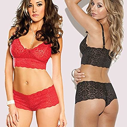 Amazon.com: XJG 2018 Sexy Beauty Bra and Panty Sets Sexy Lingerie Women Lace Bra Set Push up Woman Underwear Set Ropa Interior Mujer Conjuntos S-XXXL(Red ...