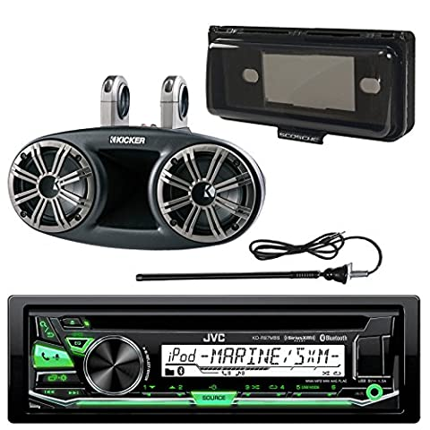 JVC KD-R97MBS In-Dash Marine Boat Bluetooth Radio USB CD Receiver Bundle Combo With Dash Kit Cover + Kicker KMT674 6.75