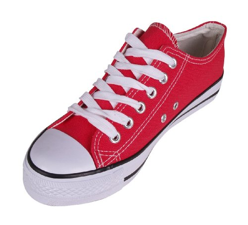 Pumps Trainers Plimsolls Sneakers Lace Canvas Baseball Top Up Red Low Gym wXzndqYS7