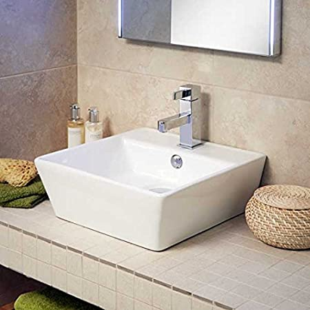Countertop Sink Bathroom Basin White Ceramic Square