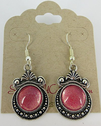 Antiqued Silver-tone Pink Shimmer Glitter Glass Dangle Earrings Hand-painted (Shimmer Evening Jewelry)