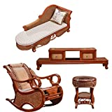 Natural bamboo - rattan wicker chaise lounge chair set/ longuer / recliner / reclining chair suite / seat / settee / seater / couch / chair / coffee table / tea table / teapoy / side table / end table