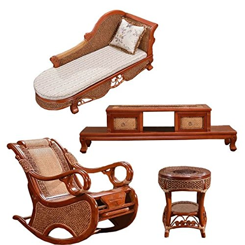 Natural bamboo - rattan wicker chaise lounge chair set/ longuer / recliner / reclining chair suite / seat / settee / seater / couch / chair / coffee table / tea table / teapoy / side table / end table by Sungao (Image #1)