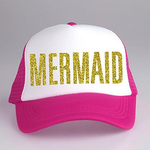 [Mermaid Trucker Cap Hat White and Pink CPT-097 C-8 G-13] (Trucker Girl Costume)