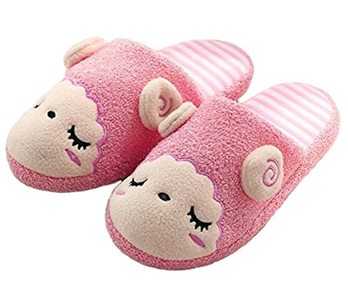 open Women Slippers Bedroom Indoor Lined booties Striped Indoor Men Cotton Design Couple Wear beginning back Lounge pink Unisex Auspicious Warm qU8tX