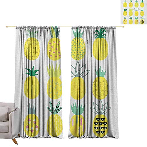 Smooth Pineapple Finials - berrly Waterproof Window Curtain Pineapple,Collection of Pineapples with Different Patterns Lines Rhombuses and Zigzags, Multicolor W72 x L84 Window Curtain Drape