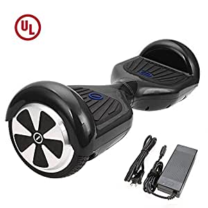 """HIGH ROLLER 6.5"""" Waterproof Hoverboard with Buffing Shell UL 2272 Certified Self-Balancing Scooter with LED lights , Black"""