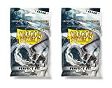 Dragon Shield Bundle: 2 Packs of Clear Standard Size Perfect Fit Sleeves - 200 Sleeves Total
