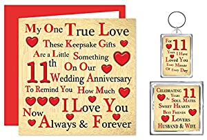 Our 11th Wedding Anniversary Gift Set - Card, Keyring & Fridge Magnet ...